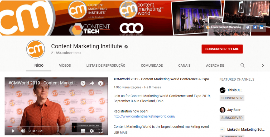 Content marketing institute; content marketing; inbound marketing; marketing de conteúdo; social media.