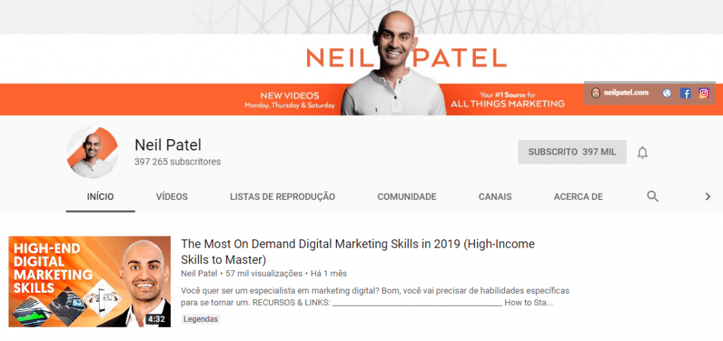 Neil Patel; marketing digital; youtube; SEO.