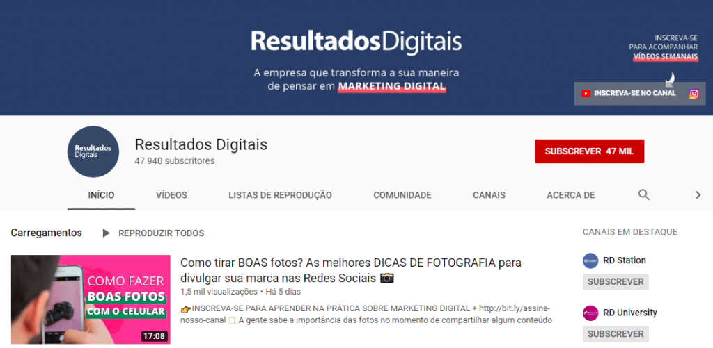 Resultados digitais; marketing digital; marketing de conteúdo; inbound marketing; redes sociais.