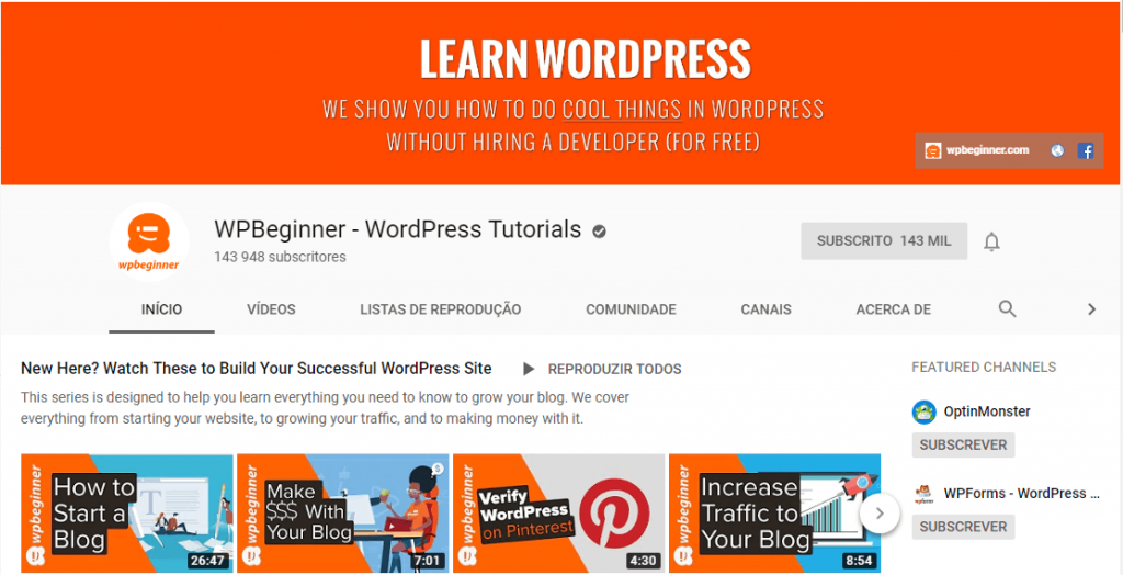 WpBeguinner; wordpress; website; blog wordpress; tuturiais wordpress.
