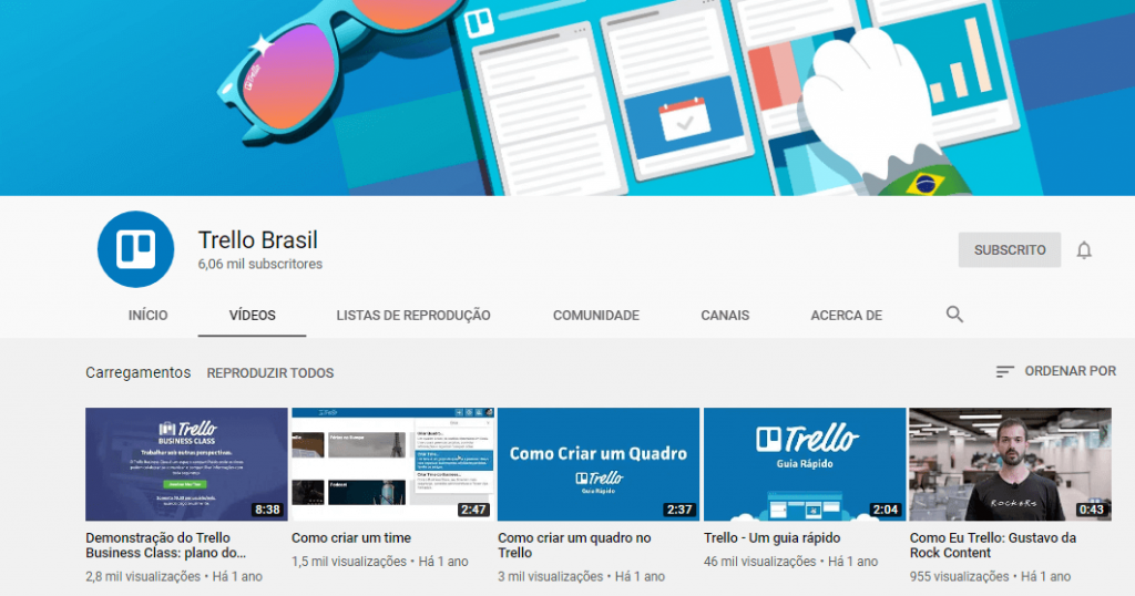 Canal youtube Trello Brasil.